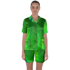 Green Background Abstract Color Satin Short Sleeve Pyjamas Set