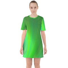 Green Background Abstract Color Sixties Short Sleeve Mini Dress