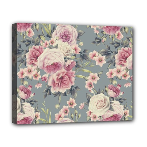 Pink Flower Seamless Design Floral Deluxe Canvas 20  X 16