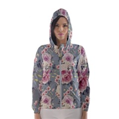 Pink Flower Seamless Design Floral Hooded Wind Breaker (women)