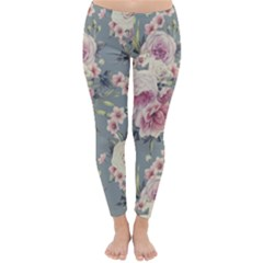 Pink Flower Seamless Design Floral Classic Winter Leggings