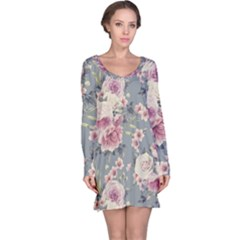 Pink Flower Seamless Design Floral Long Sleeve Nightdress
