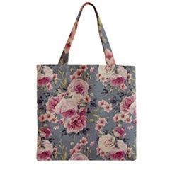 Pink Flower Seamless Design Floral Zipper Grocery Tote Bag