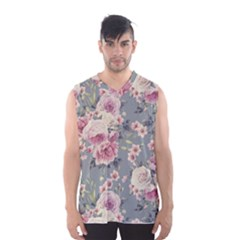 Pink Flower Seamless Design Floral Men s Basketball Tank Top