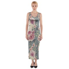 Pink Flower Seamless Design Floral Fitted Maxi Dress