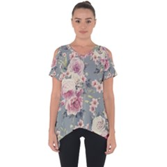 Pink Flower Seamless Design Floral Cut Out Side Drop Tee