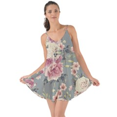 Pink Flower Seamless Design Floral Love The Sun Cover Up