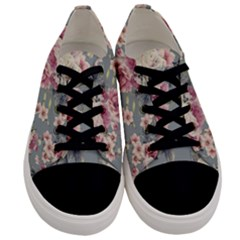 Pink Flower Seamless Design Floral Men s Low Top Canvas Sneakers