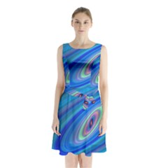 Oval Ellipse Fractal Galaxy Sleeveless Waist Tie Chiffon Dress