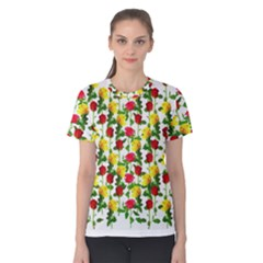Rose Pattern Roses Background Image Women s Cotton Tee
