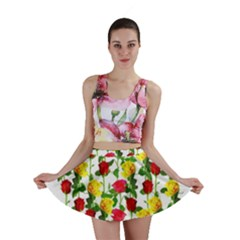 Rose Pattern Roses Background Image Mini Skirt