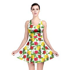 Rose Pattern Roses Background Image Reversible Skater Dress