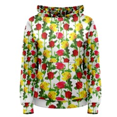 Rose Pattern Roses Background Image Women s Pullover Hoodie