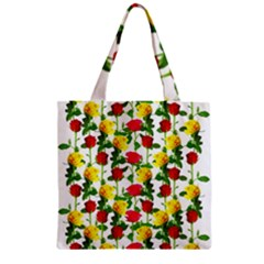 Rose Pattern Roses Background Image Zipper Grocery Tote Bag