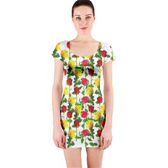 Rose Pattern Roses Background Image Short Sleeve Bodycon Dress