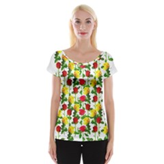 Rose Pattern Roses Background Image Cap Sleeve Tops