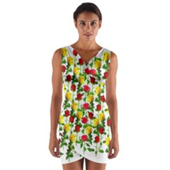 Rose Pattern Roses Background Image Wrap Front Bodycon Dress