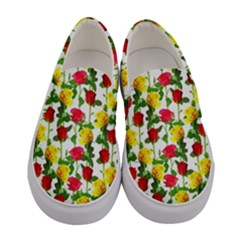 Rose Pattern Roses Background Image Women s Canvas Slip Ons