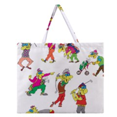 Golfers Athletes Zipper Large Tote Bag