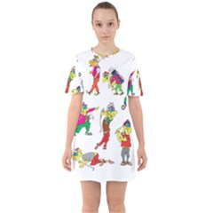 Golfers Athletes Sixties Short Sleeve Mini Dress
