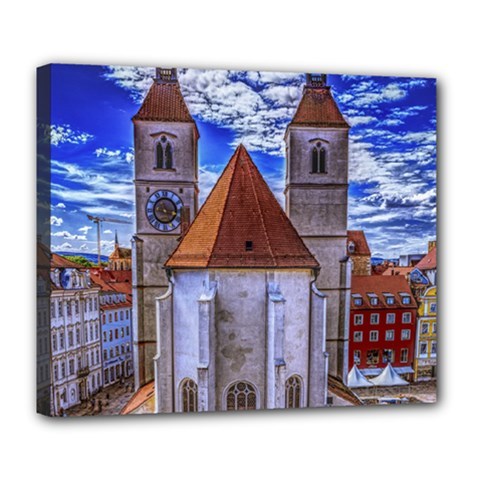Steeple Church Building Sky Great Deluxe Canvas 24  X 20