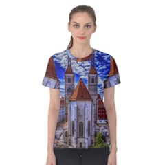 Steeple Church Building Sky Great Women s Cotton Tee