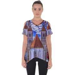 Steeple Church Building Sky Great Cut Out Side Drop Tee