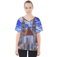 Steeple Church Building Sky Great V Neck Dolman Drape Top
