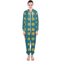 Sunshine Mandalas On Blue Hooded Jumpsuit (ladies)