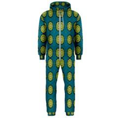 Sunshine Mandalas On Blue Hooded Jumpsuit (men)