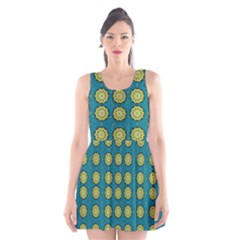 Sunshine Mandalas On Blue Scoop Neck Skater Dress