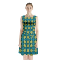 Sunshine Mandalas On Blue Sleeveless Waist Tie Chiffon Dress