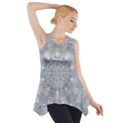 Flower Lace In Decorative Style Side Drop Tank Tunic