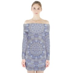 Flower Lace In Decorative Style Long Sleeve Off Shoulder Dress