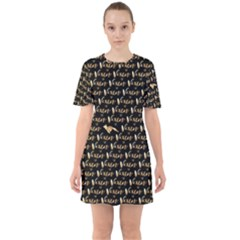 Hotwife Vixen With Butterfly In Gold On Black Sixties Short Sleeve Mini Dress