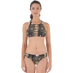 Stemapunk Design With Clocks And Gears Perfectly Cut Out Bikini Set