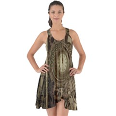 Stemapunk Design With Clocks And Gears Show Some Back Chiffon Dress