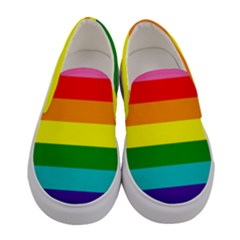 Colorful Stripes Lgbt Rainbow Flag Gay Pride Women s Canvas Slip Ons