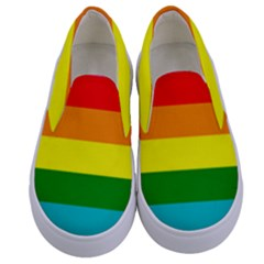 Colorful Stripes Lgbt Rainbow Flag Gay Pride Kids  Canvas Slip Ons