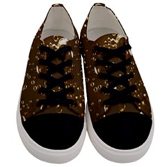 Shades Of Brown Gold Bubbles Sparkling Wine Champagne Golden Water Men s Low Top Canvas Sneakers