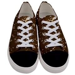 Shades Of Brown Gold Bubbles Sparkling Wine Champagne Golden Water Women s Low Top Canvas Sneakers