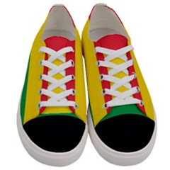 Rasta Colors Red Yellow Green Stripes Pattern Ethiopia Women s Low Top Canvas Sneakers