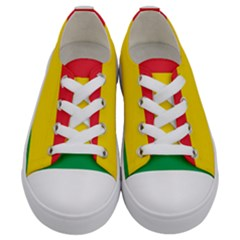 Rasta Colors Red Yellow Green Stripes Pattern Ethiopia Kids  Low Top Canvas Sneakers
