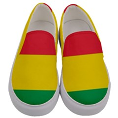 Rasta Colors Red Yellow Green Stripes Pattern Ethiopia Men s Canvas Slip Ons