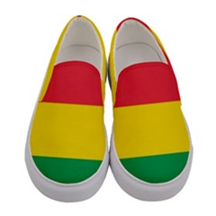 Rasta Colors Red Yellow Green Stripes Pattern Ethiopia Women s Canvas Slip Ons