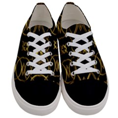 Black And Gold Elegant Circles Square Cross Geometric Pattern  Women s Low Top Canvas Sneakers