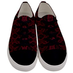 Black And Red Damask Antique Vintage Curtain Lace Pattern Men s Low Top Canvas Sneakers