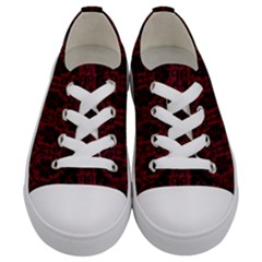 Black And Red Damask Antique Vintage Curtain Lace Pattern Kids  Low Top Canvas Sneakers