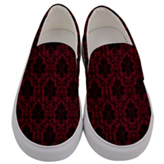 Black And Red Damask Antique Vintage Curtain Lace Pattern Men s Canvas Slip Ons