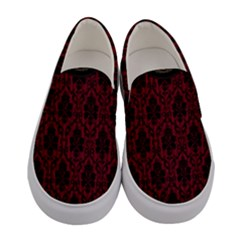 Black And Red Damask Antique Vintage Curtain Lace Pattern Women s Canvas Slip Ons